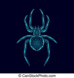 Low poly spider dangerous arachnids. Web security virus data safety antivirus concept. Polygonal modern blue glowing design business concept. Cyber crime web insect technology vector illustration
