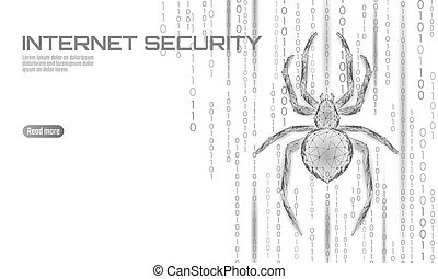 Low poly spider hacker attack danger. Web security virus data safety antivirus concept. Polygonal modern design business concept. Cyber crime web insect bug technology vector illustration