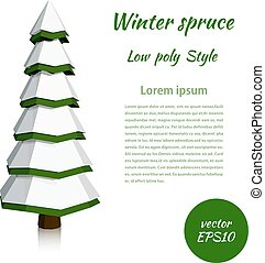 Low poly spruce. Winter banner