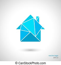 Low poly style house icon