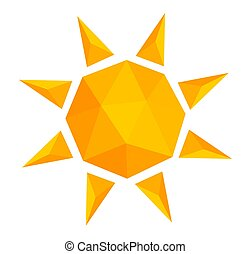 Low poly style sun icon