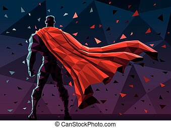 Low Poly Superhero - Low poly superhero background. No...