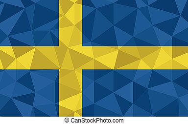 Low poly Sweden flag vector illustration. Triangular Swedish flag graphic. Sweden country flag is a symbol of independence.
