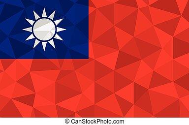 Low poly Taiwan flag vector illustration. Triangular ...