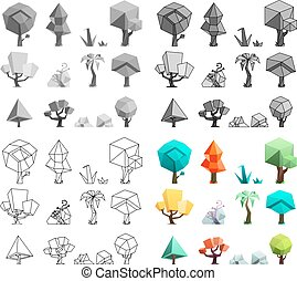 Low poly trees rocks grass icons set flat design line art vector illustration