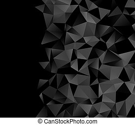 low poly triangles black border background