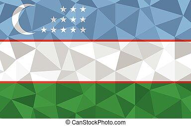 Low poly Uzbekistan flag vector illustration. Triangular Uzbekistani flag graphic. Uzbekistan country flag is a symbol of independence.