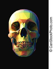 Low poly vector rainbow skull in front view
