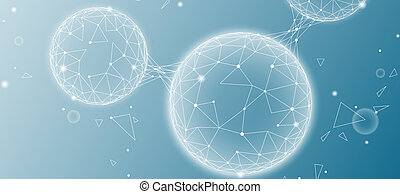 Low poly water molecule structure 3D render concept. Polygonal science research ecological technology art. Futuristic modern abstract background. H2O cell connected wire mesh vector illustration