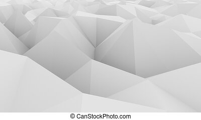 Low poly white abstract polygonal modern background. 3D rendering