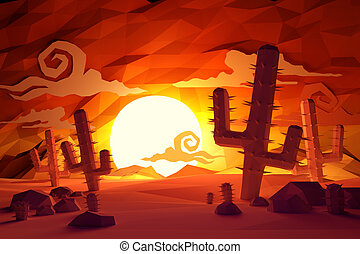 Low poly handmade feel Wild West landscape with cactus plants and sunset.