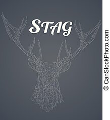 Low poly wireframe stag head on gray background - Low poly...