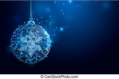 Low polygon Christmas ball wireframe mesh on dark blue...
