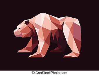 low polygon grizzly bear - illustration of low polygon...