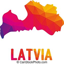 Low polygonal map of Republic of Latvia (Latvijas Republika)...