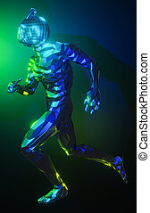 Low polygonal metal robot running on blue and green background. Technology, future, speed concept. 3D illustration