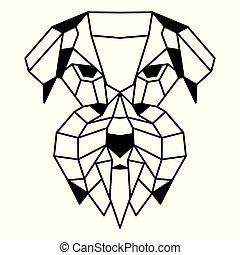 Low polygonal portrait of a schnauzer. Nice vector graphic...