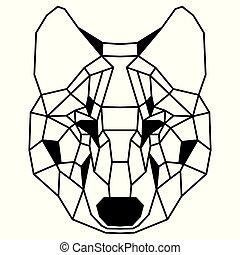 Low polygonal portrait of a wolf