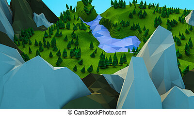 low polygonal trees and mountains. Landscape. Computer graphics. 3D rendering