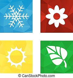 Low polygonal triagonal button with flat white icon for 4 seasons icons