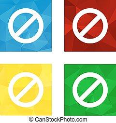 Low polygonal triagonal button with flat white icon for ban
