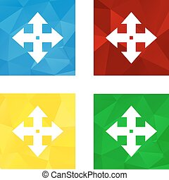 Low polygonal triagonal button with flat white icon for move arrows