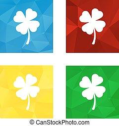 Low polygonal triagonal button with flat white icon for shamrock (four-leaf)