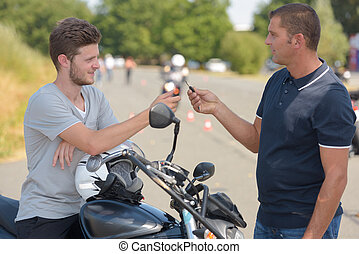 low-power motorcycle for drivers training is in driving school