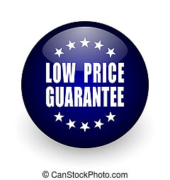 Low price guarantee blue glossy ball web icon on white background. Round 3d render button.