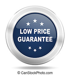 low price guarantee icon, dark blue round metallic internet button, web and mobile app illustration
