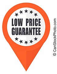 Low price guarantee orange pointer vector icon in eps 10 isolated on white background.