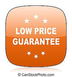 low price guarantee orange square web design glossy icon