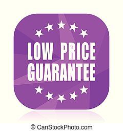 Low price guarantee violet square vector web icon. Internet design and webdesign button in eps 10. Mobile application sign on white background.