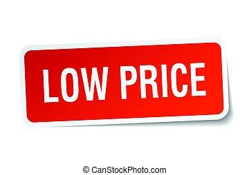 low price square sticker on white