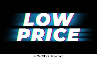 Low Price Text Glitch Effect Promotion Advertisement Loop Background. Price Tag, Sale, Discounts, Deals, Special Offers, Green Screen and Alpha Matte