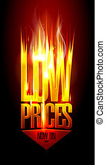 Low prices now on, hot fiery sale design with arrow move ...