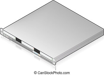 Silver Low Profile Single Server Unit Isometric 3D Icon (part of the Computer Hardware Icons Set)