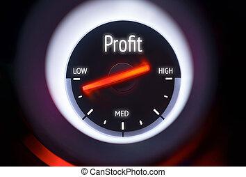 low Profit Concept - Low Profit concept displayed on a gauge