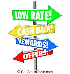 Low Rate Cash Back Rewards Offer Arrow Signs Best Credit...