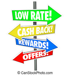 Low Rate Cash Back Rewards Offer Arrow Signs Best Credit...