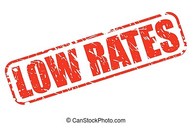 LOW RATES red stamp text