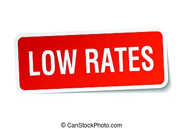 low rates square sticker on white