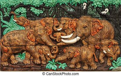 Thai style handcraft of elephants - Low relief cement Thai...