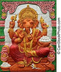 ganesh hindu god on wall
