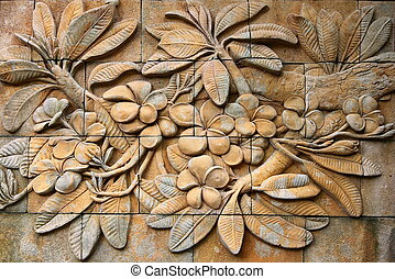 frangipani flowers on wall