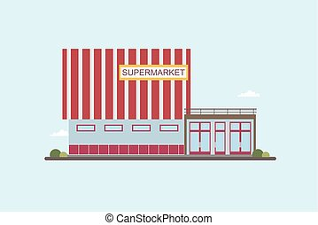 Low-rise supermarket building front view. Colorful flat vector illustration.