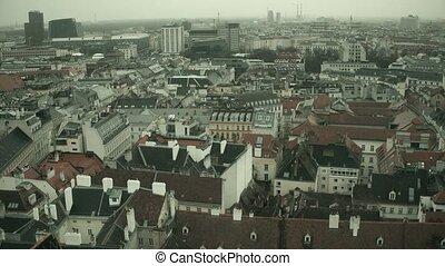 low-rise, toits, présentation, brumeux, jour, vidéo, 4k, austria., moule, vienne