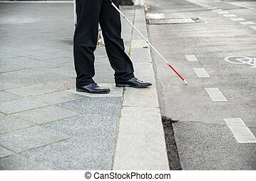 Blind Person Crossing Street - Low Section Of A Blind Person...