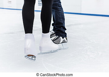 Low section of an ice skater