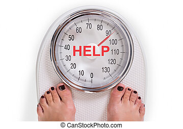 Low Section Of Woman On Weight Scale With Help Text - Low...